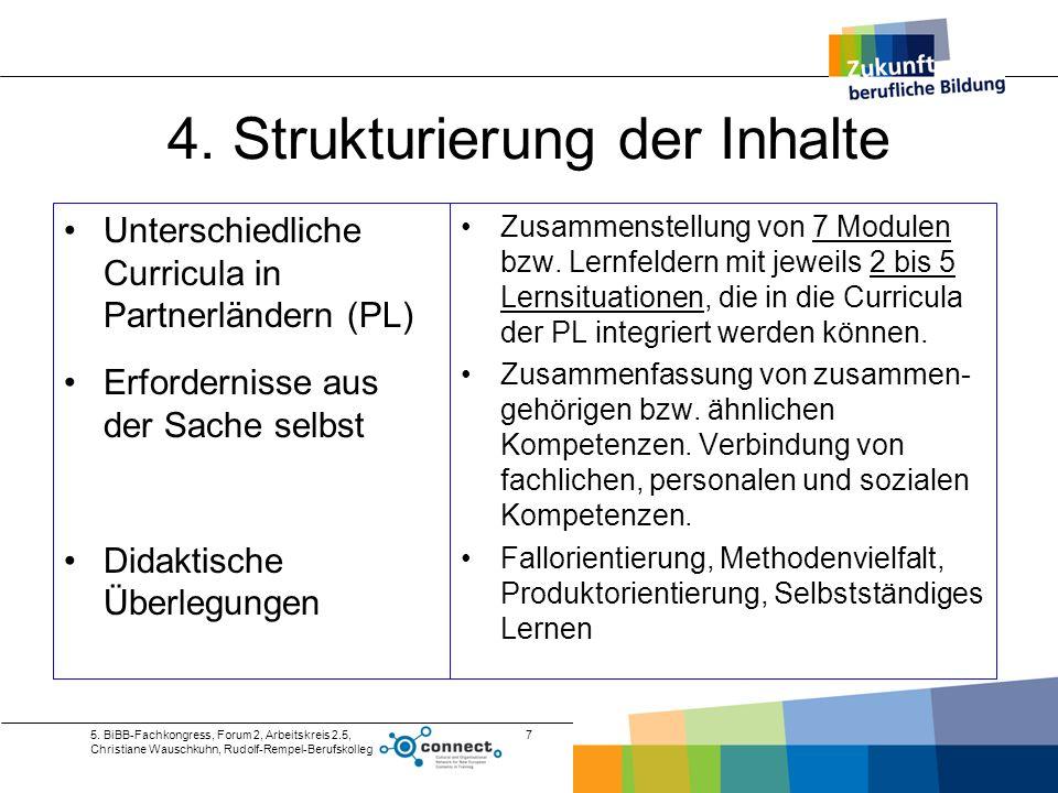 5. BiBB-Fachkongress, Forum 2, Arbeitskreis 2.5, Christiane Wauschkuhn, Rudolf-Rempel-Berufskolleg 7 4. Strukturierung der Inhalte Unterschiedliche Cu