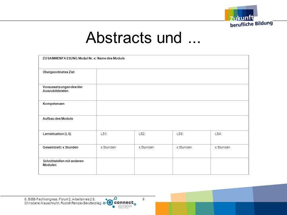 5. BiBB-Fachkongress, Forum 2, Arbeitskreis 2.5, Christiane Wauschkuhn, Rudolf-Rempel-Berufskolleg 8 Abstracts und... ZUSAMMENFASSUNG Modul Nr. x: Nam