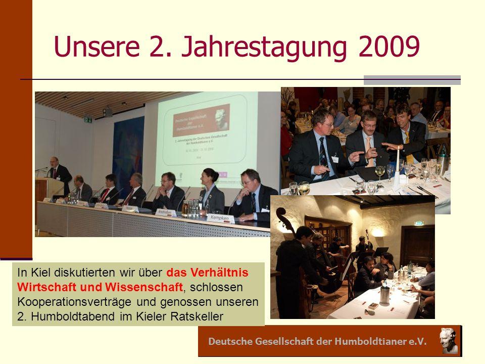 Deutsche Gesellschaft der Humboldtianer e.V. Unsere 2. Jahrestagung 2009 In Kiel diskutierten wir über das Verhältnis Wirtschaft und Wissenschaft, sch