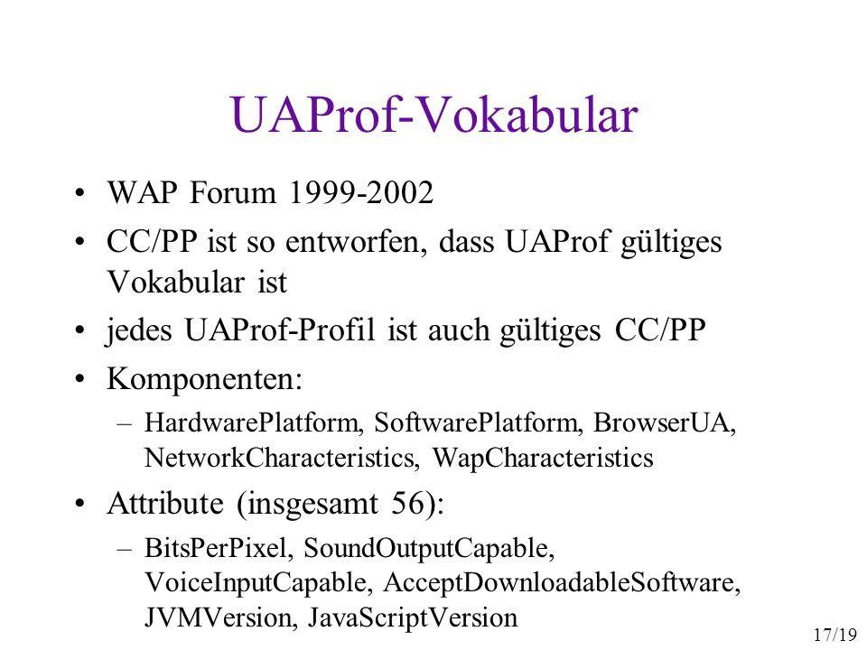 17/19 UAProf-Vokabular WAP Forum 1999-2002 CC/PP ist so entworfen, dass UAProf gültiges Vokabular ist jedes UAProf-Profil ist auch gültiges CC/PP Komp