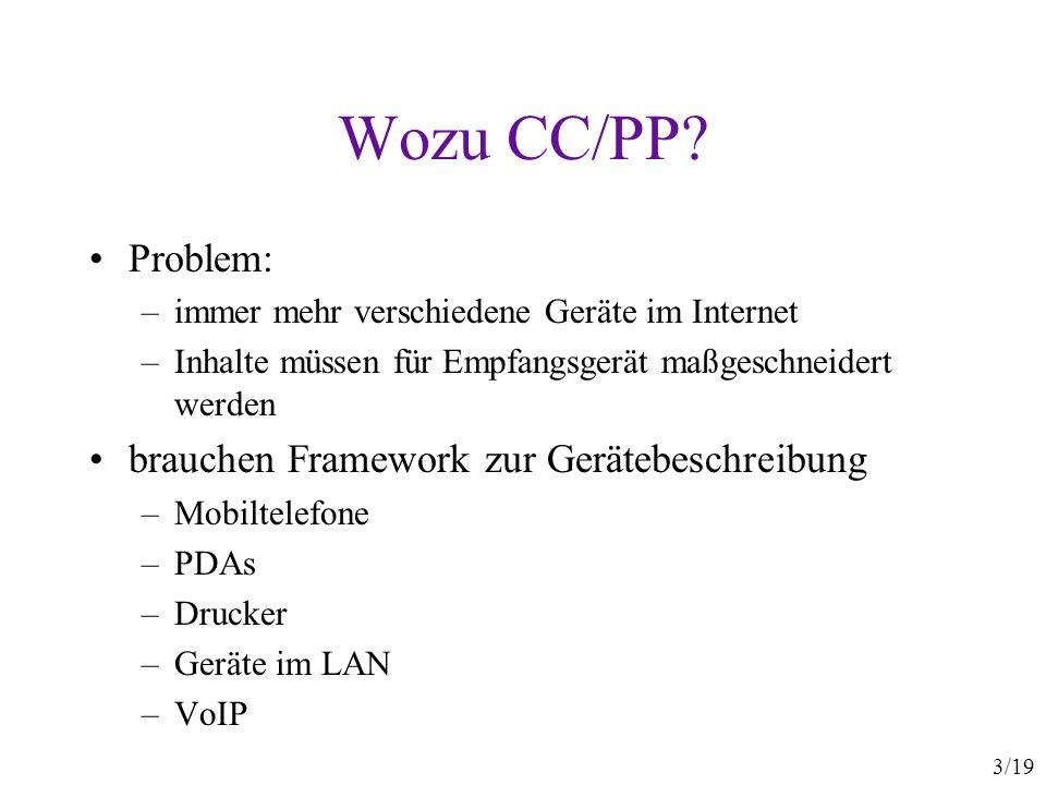 14/19 Die CC/PP-Klassenhierarchie rdfs:Resource ccpp:Profile ccpp:Component rdf:Property ccpp:Property ccpp:Structure ccpp:Attribute rdfs:Literal ccpp:anyURI ccpp:string ccpp:integer ccpp:Rational rdf:Bag rdf:Seq Instanzen von ccpp:Structure : ccpp:component ccpp:defaults