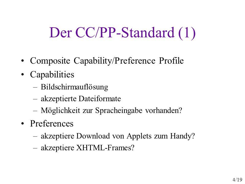 4/19 Der CC/PP-Standard (1) Composite Capability/Preference Profile Capabilities –Bildschirmauflösung –akzeptierte Dateiformate –Möglichkeit zur Sprac