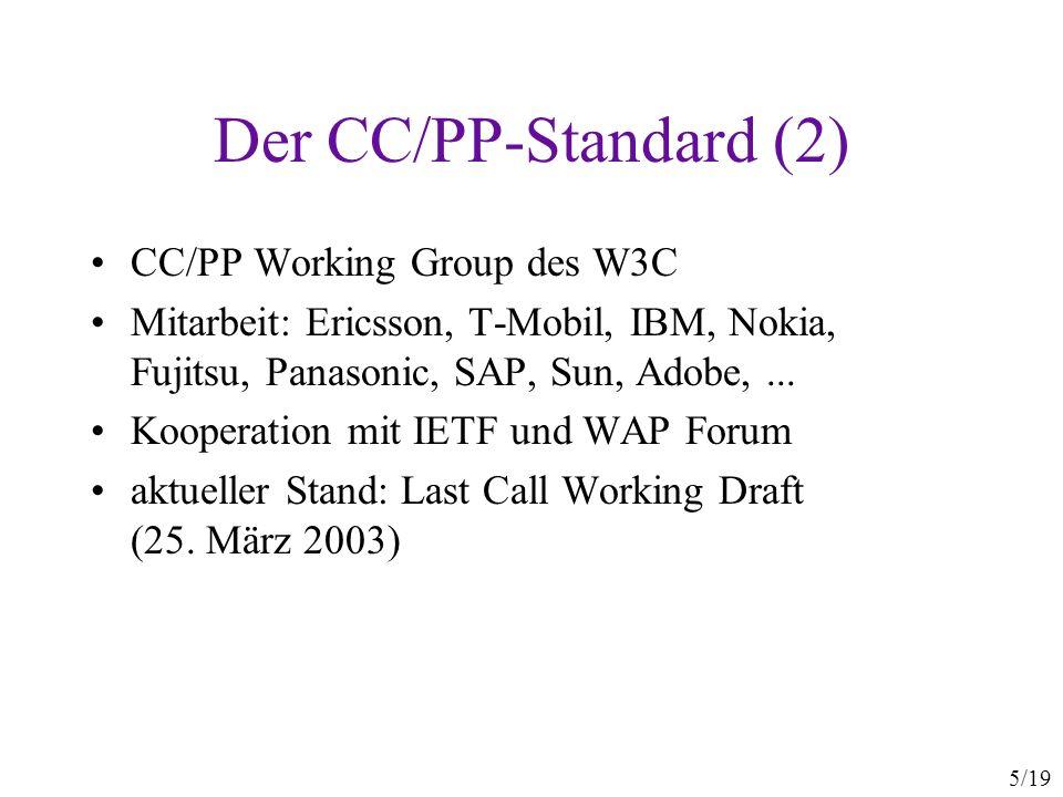 5/19 Der CC/PP-Standard (2) CC/PP Working Group des W3C Mitarbeit: Ericsson, T-Mobil, IBM, Nokia, Fujitsu, Panasonic, SAP, Sun, Adobe,... Kooperation