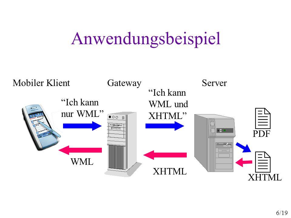 17/19 UAProf-Vokabular WAP Forum 1999-2002 CC/PP ist so entworfen, dass UAProf gültiges Vokabular ist jedes UAProf-Profil ist auch gültiges CC/PP Komponenten: –HardwarePlatform, SoftwarePlatform, BrowserUA, NetworkCharacteristics, WapCharacteristics Attribute (insgesamt 56): –BitsPerPixel, SoundOutputCapable, VoiceInputCapable, AcceptDownloadableSoftware, JVMVersion, JavaScriptVersion