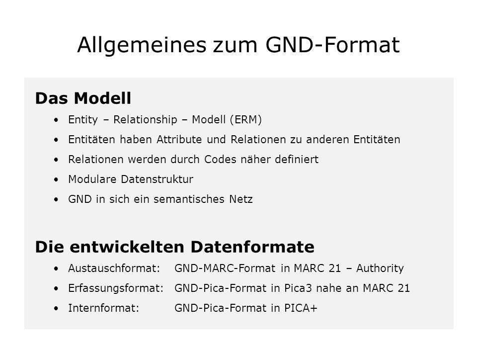 Übersicht 1.Allgemeines zum GND-Format 2.GND-Grundstruktur Entitäten Feldstruktur Relationen Weitere Felder 3.Beispiele im Pica3-Format