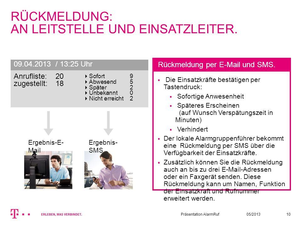 05/2013Präsentation AlarmRuf10 RÜCKMELDUNG: AN LEITSTELLE UND EINSATZLEITER. Die Einsatzkräfte bestätigen per Tastendruck: Sofortige Anwesenheit Späte
