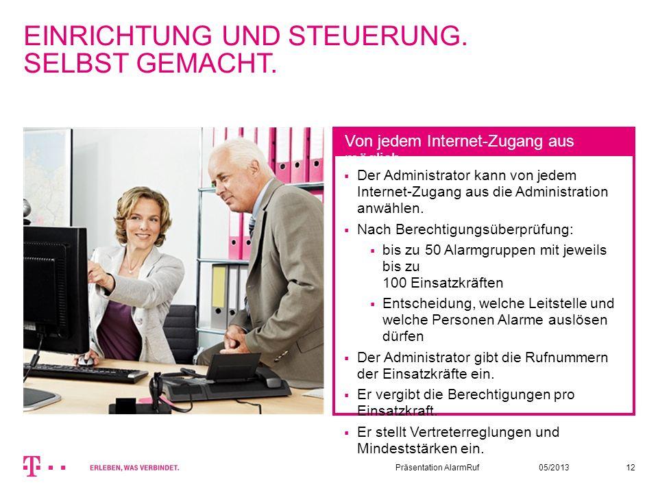 05/2013Präsentation AlarmRuf12 EINRICHTUNG UND STEUERUNG. SELBST GEMACHT. Der Administrator kann von jedem Internet-Zugang aus die Administration anwä