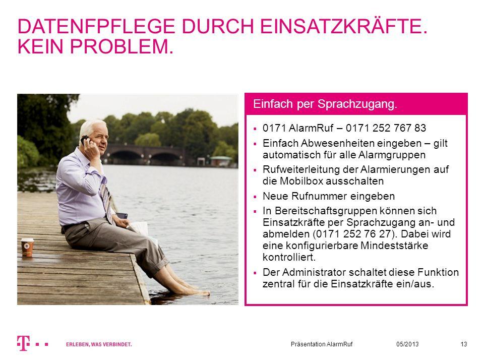 05/2013Präsentation AlarmRuf13 DATENFPFLEGE DURCH EINSATZKRÄFTE. KEIN PROBLEM. 0171 AlarmRuf – 0171 252 767 83 Einfach Abwesenheiten eingeben – gilt a