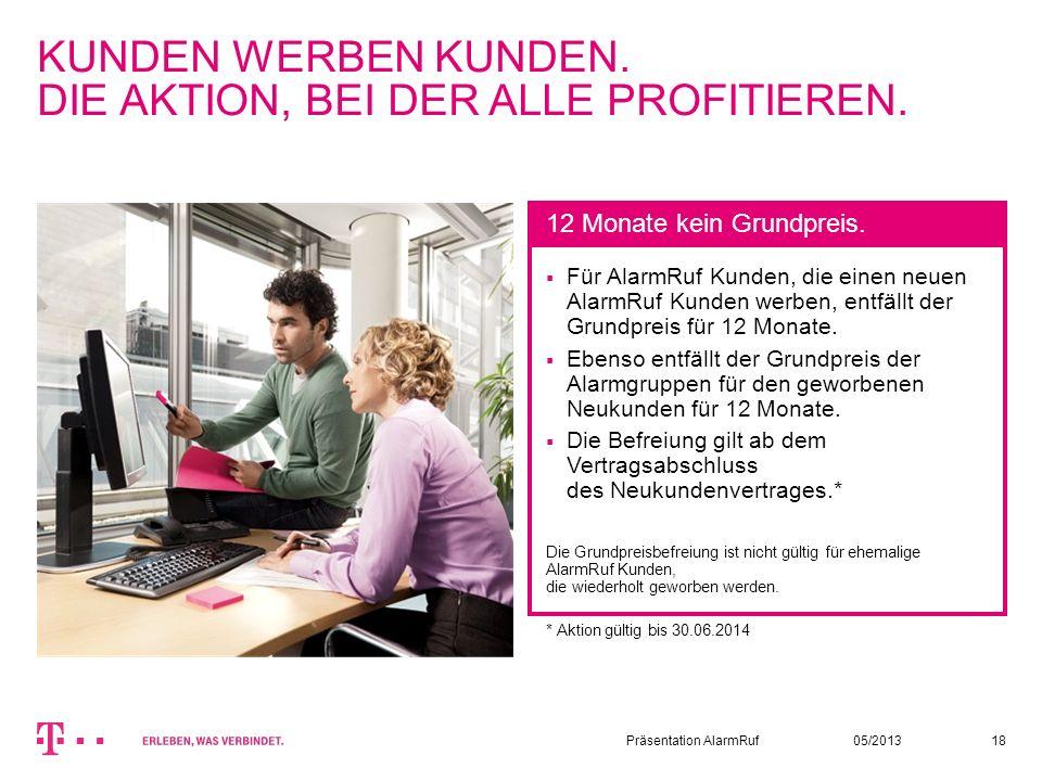 05/2013Präsentation AlarmRuf18 KUNDEN WERBEN KUNDEN. DIE AKTION, BEI DER ALLE PROFITIEREN. Für AlarmRuf Kunden, die einen neuen AlarmRuf Kunden werben