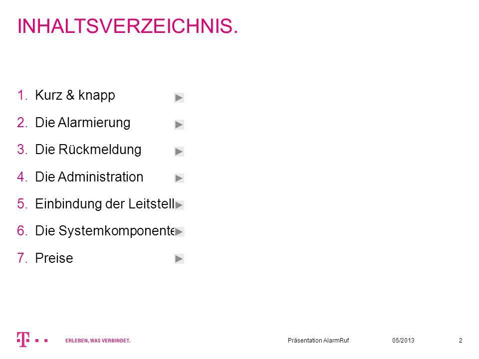 05/2013Präsentation AlarmRuf2 INHALTSVERZEICHNIS. Kurz & knapp Die Alarmierung Die Rückmeldung Die Administration Einbindung der Leitstelle Die System