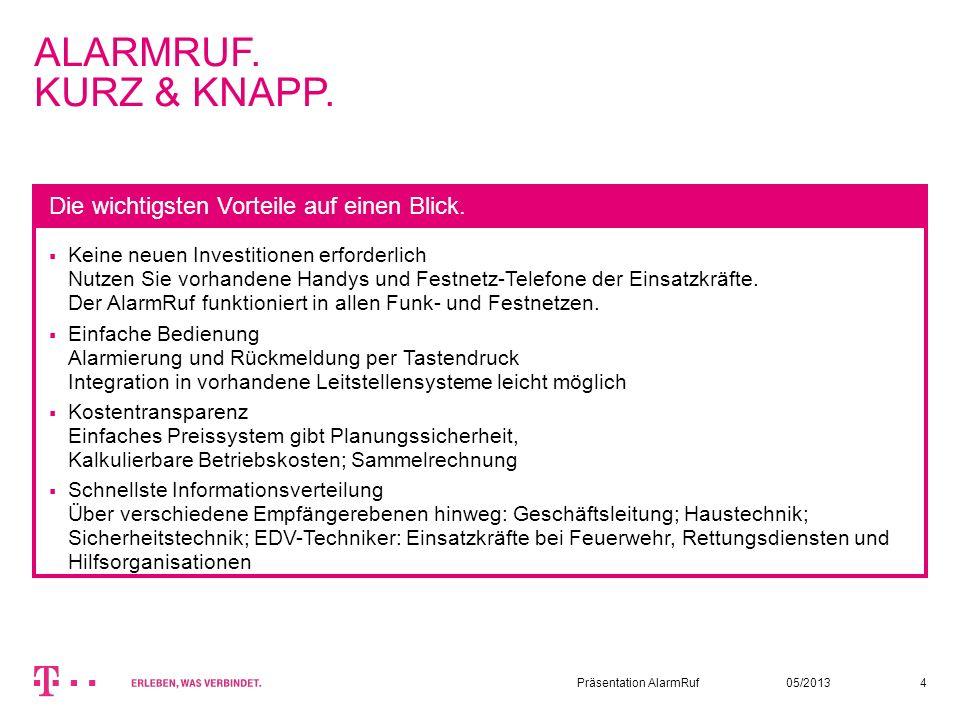 05/2013Präsentation AlarmRuf4 ALARMRUF. KURZ & KNAPP. Keine neuen Investitionen erforderlich Nutzen Sie vorhandene Handys und Festnetz-Telefone der Ei