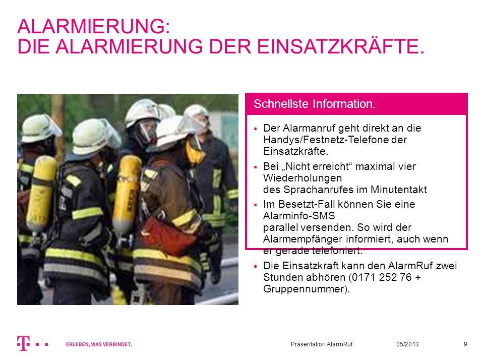 05/2013Präsentation AlarmRuf9 ALARMIERUNG: DIE ALARMIERUNG DER EINSATZKRÄFTE. Der Alarmanruf geht direkt an die Handys/Festnetz-Telefone der Einsatzkr