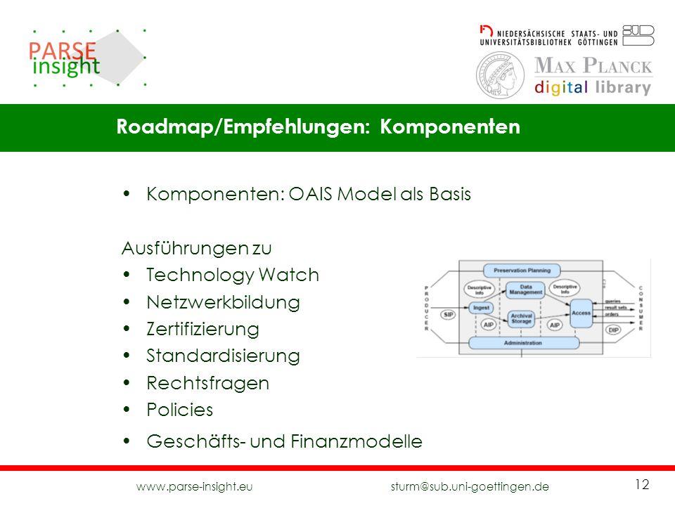 www.parse-insight.eu sturm@sub.uni-goettingen.de 12 Komponenten: OAIS Model als Basis Ausführungen zu Technology Watch Netzwerkbildung Zertifizierung