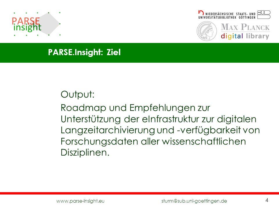 www.parse-insight.eu sturm@sub.uni-goettingen.de 4 Output: Roadmap und Empfehlungen zur Unterstützung der eInfrastruktur zur digitalen Langzeitarchivi