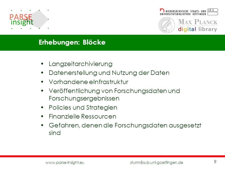 www.parse-insight.eu sturm@sub.uni-goettingen.de 9 Langzeitarchivierung Datenerstellung und Nutzung der Daten Vorhandene eInfrastruktur Veröffentlichu