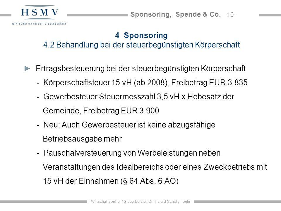 Sponsoring, Spende & Co. -10- Wirtschaftsprüfer / Steuerberater Dr. Harald Schotenroehr 4 Sponsoring 4.2 Behandlung bei der steuerbegünstigten Körpers