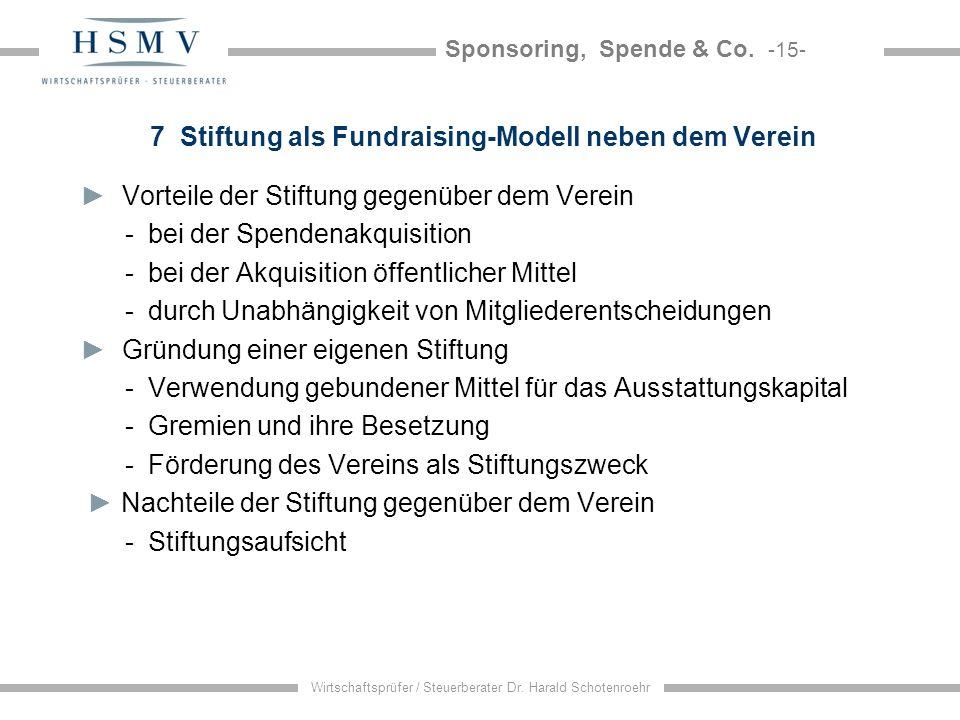 Sponsoring, Spende & Co. -15- Wirtschaftsprüfer / Steuerberater Dr. Harald Schotenroehr 7 Stiftung als Fundraising-Modell neben dem Verein Vorteile de