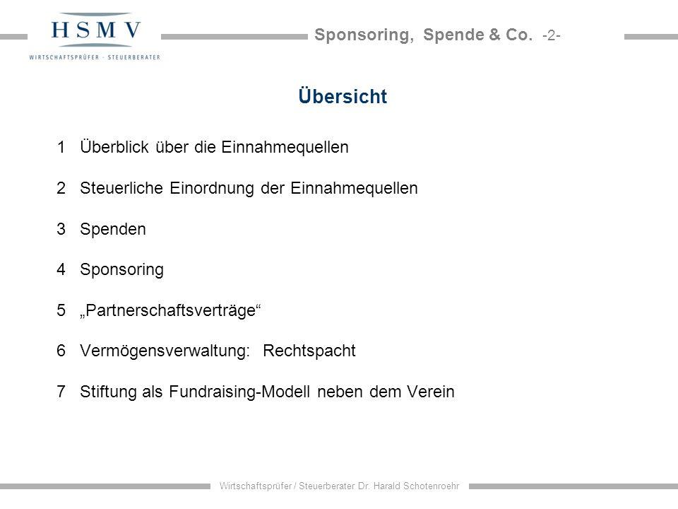 Sponsoring, Spende & Co. -2- Wirtschaftsprüfer / Steuerberater Dr. Harald Schotenroehr Übersicht 1 Überblick über die Einnahmequellen 2 Steuerliche Ei