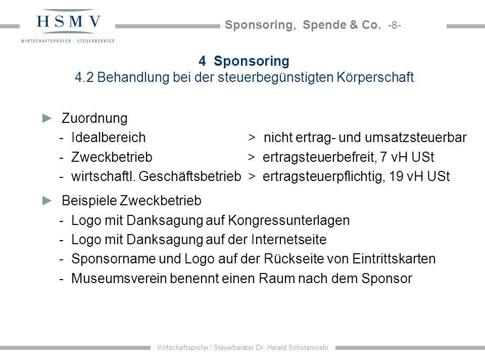 Sponsoring, Spende & Co. -8- Wirtschaftsprüfer / Steuerberater Dr. Harald Schotenroehr 4 Sponsoring 4.2 Behandlung bei der steuerbegünstigten Körpersc