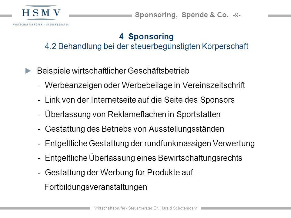 Sponsoring, Spende & Co. -9- Wirtschaftsprüfer / Steuerberater Dr. Harald Schotenroehr 4 Sponsoring 4.2 Behandlung bei der steuerbegünstigten Körpersc