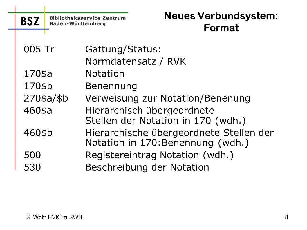 S. Wolf: RVK im SWB8 Neues Verbundsystem: Format 005 Tr Gattung/Status: Normdatensatz / RVK 170$aNotation 170$bBenennung 270$a/$bVerweisung zur Notati
