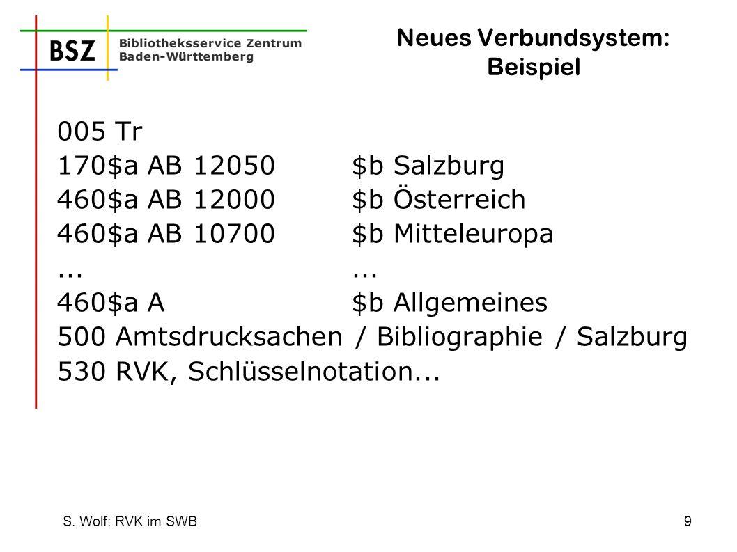 S. Wolf: RVK im SWB9 Neues Verbundsystem: Beispiel 005 Tr 170$a AB 12050$b Salzburg 460$a AB 12000$b Österreich 460$a AB 10700$b Mitteleuropa... 460$a