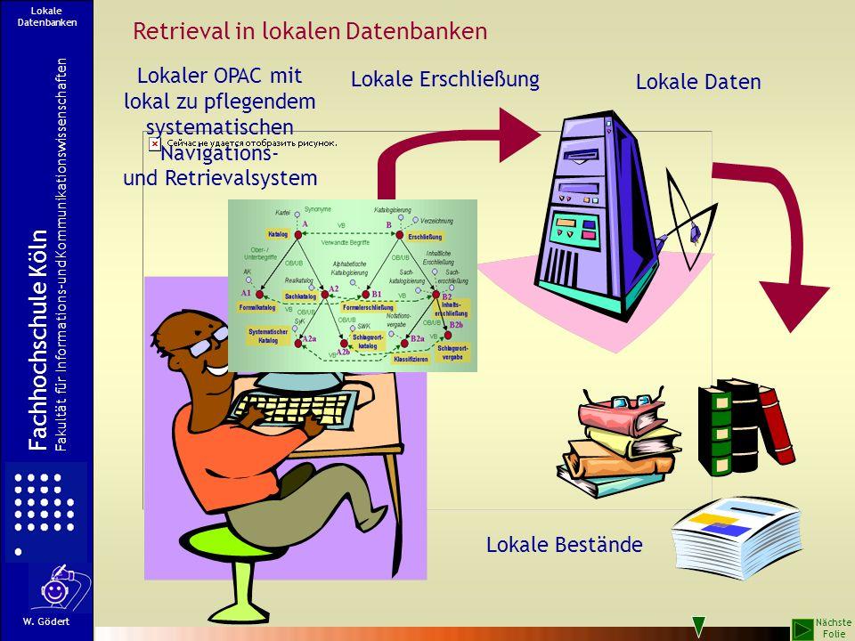Retrieval in lokalen Datenbanken Lokale Bestände Lokale Daten Lokale Erschließung Lokaler OPAC mit lokal zu pflegendem systematischen Navigations- und