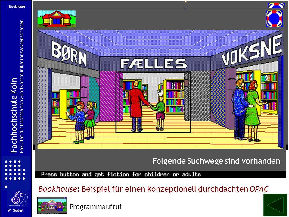 Bookhouse: Beispiel für einen konzeptionell durchdachten OPAC Fachhochschule Köln Fakultät für Informations-und Kommunikationswissenschaften W. Gödert