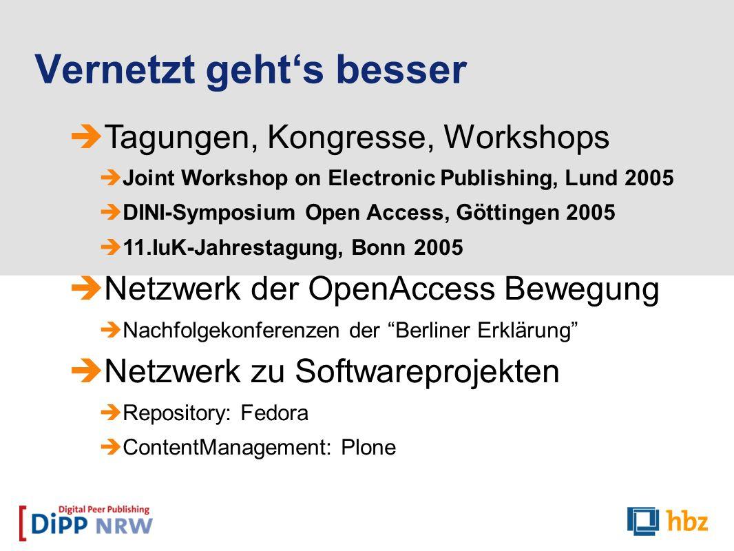 Tagungen, Kongresse, Workshops Joint Workshop on Electronic Publishing, Lund 2005 DINI-Symposium Open Access, Göttingen 2005 11.IuK-Jahrestagung, Bonn