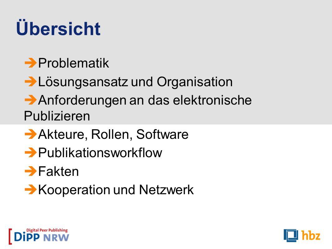 Problematik Lösungsansatz und Organisation Anforderungen an das elektronische Publizieren Akteure, Rollen, Software Publikationsworkflow Fakten Kooper