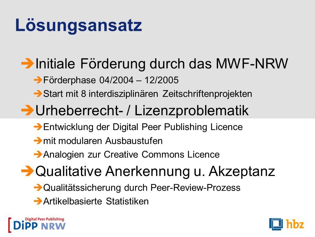 Initiale Förderung durch das MWF-NRW Förderphase 04/2004 – 12/2005 Start mit 8 interdisziplinären Zeitschriftenprojekten Urheberrecht- / Lizenzproblem
