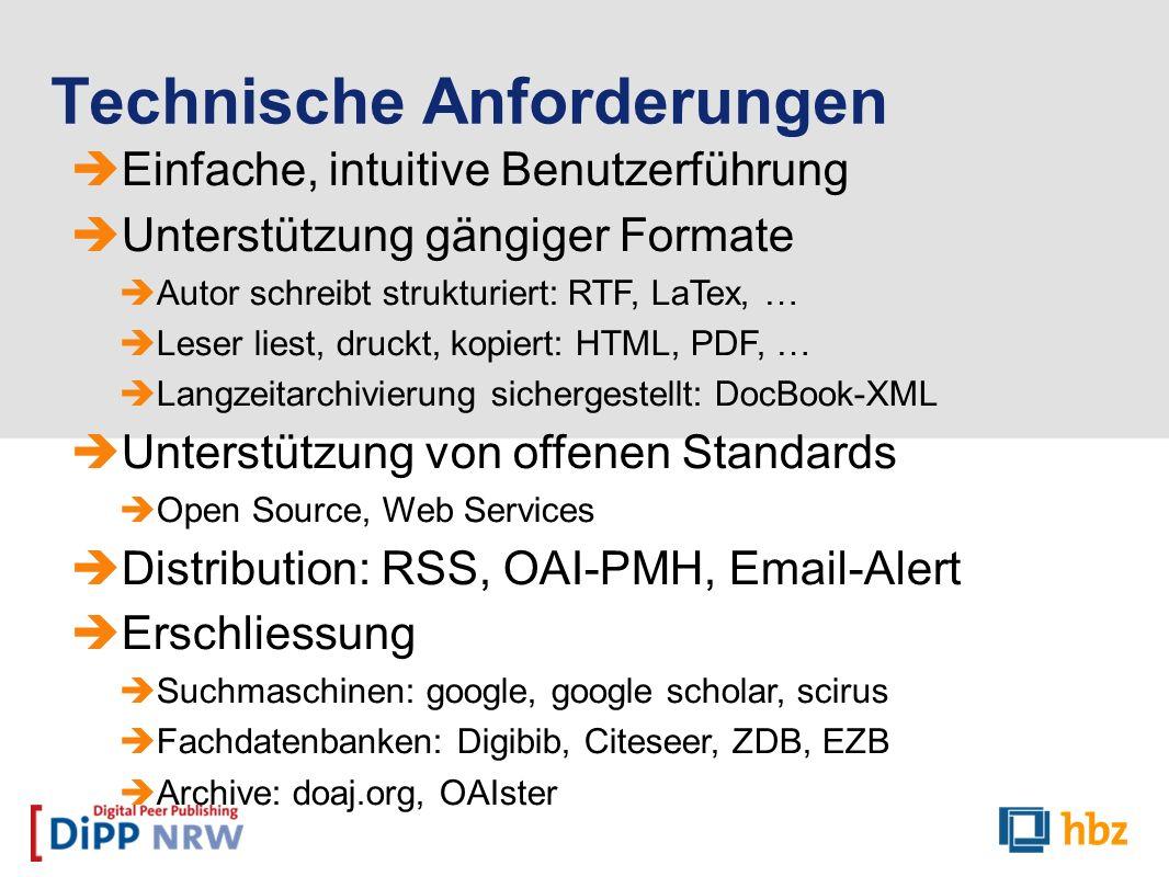 Einfache, intuitive Benutzerführung Unterstützung gängiger Formate Autor schreibt strukturiert: RTF, LaTex, … Leser liest, druckt, kopiert: HTML, PDF,
