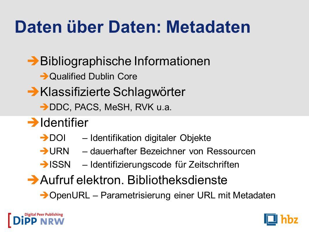 Bibliographische Informationen Qualified Dublin Core Klassifizierte Schlagwörter DDC, PACS, MeSH, RVK u.a. Identifier DOI – Identifikation digitaler O