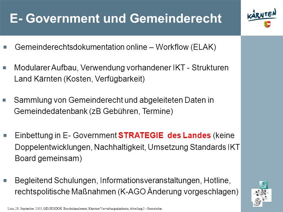Linz, 28. September 2005, GEMRISDOK Bundeskanzleramt, Kärntner Verwaltungsakademie, Abteilung 3 - Gemeinden Gemeinderechtsdokumentation online – Workf