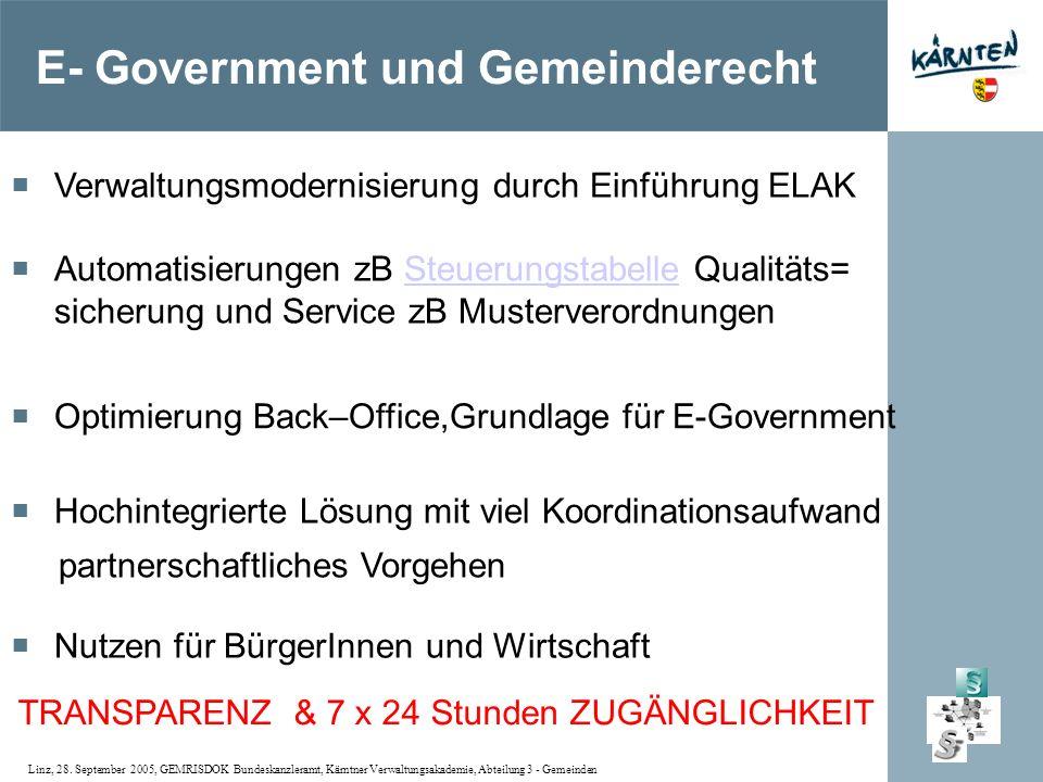 Linz, 28. September 2005, GEMRISDOK Bundeskanzleramt, Kärntner Verwaltungsakademie, Abteilung 3 - Gemeinden Verwaltungsmodernisierung durch Einführung