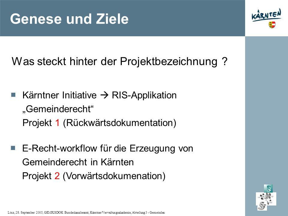 Linz, 28. September 2005, GEMRISDOK Bundeskanzleramt, Kärntner Verwaltungsakademie, Abteilung 3 - Gemeinden Genese und Ziele Was steckt hinter der Pro