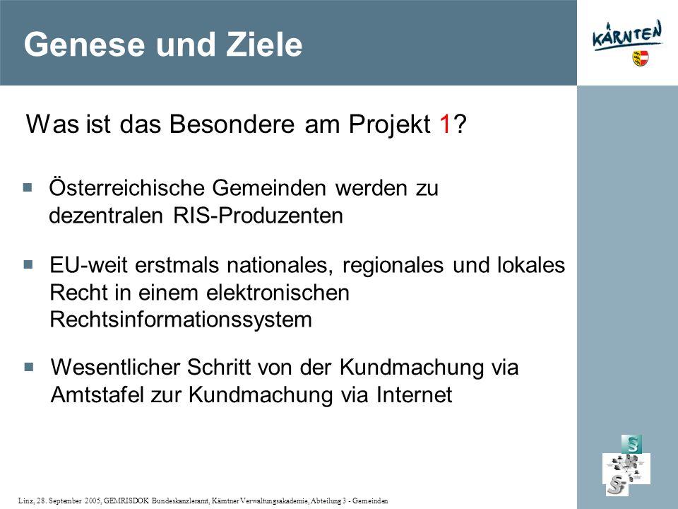 Linz, 28. September 2005, GEMRISDOK Bundeskanzleramt, Kärntner Verwaltungsakademie, Abteilung 3 - Gemeinden Genese und Ziele Was ist das Besondere am