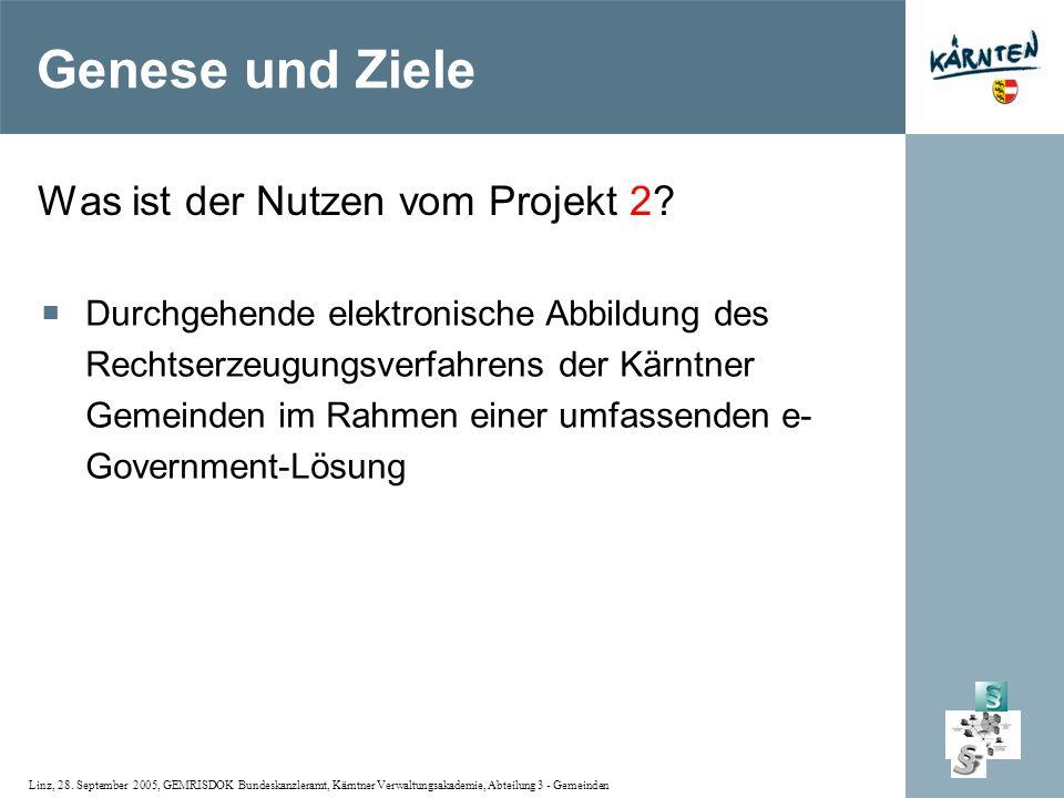 Linz, 28. September 2005, GEMRISDOK Bundeskanzleramt, Kärntner Verwaltungsakademie, Abteilung 3 - Gemeinden Was ist der Nutzen vom Projekt 2? Durchgeh