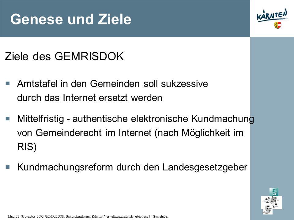 Linz, 28. September 2005, GEMRISDOK Bundeskanzleramt, Kärntner Verwaltungsakademie, Abteilung 3 - Gemeinden Ziele des GEMRISDOK Amtstafel in den Gemei
