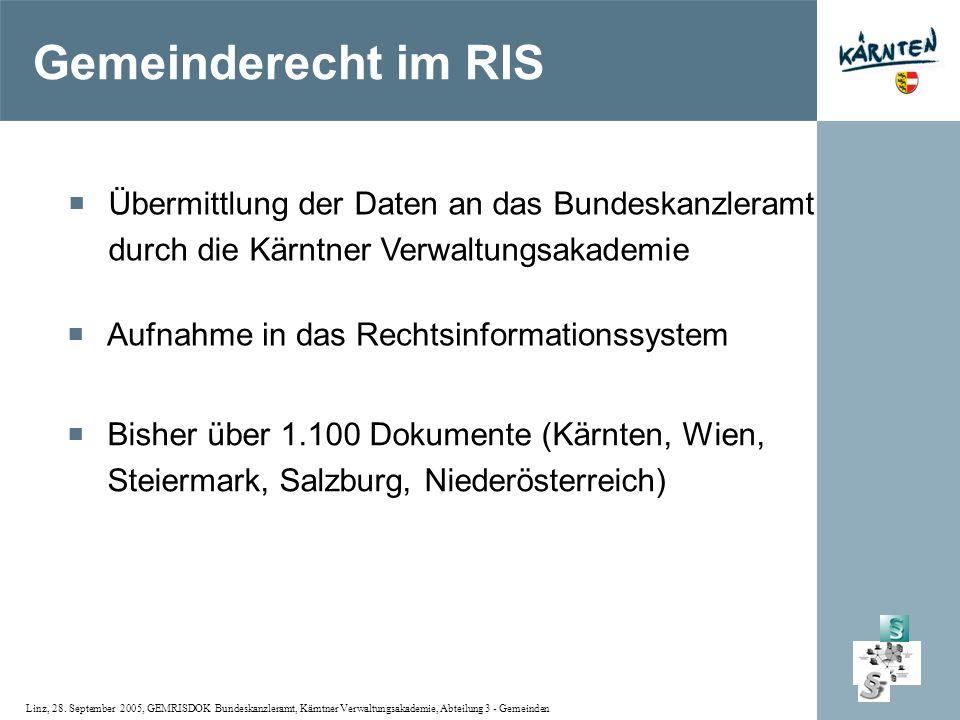 Linz, 28. September 2005, GEMRISDOK Bundeskanzleramt, Kärntner Verwaltungsakademie, Abteilung 3 - Gemeinden Gemeinderecht im RIS Bisher über 1.100 Dok