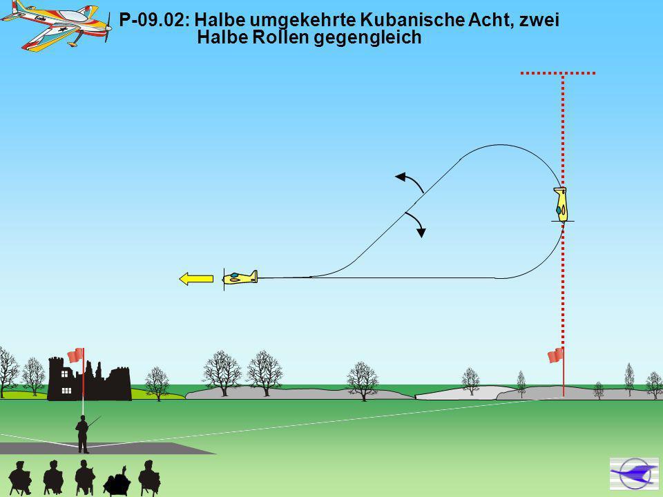 P-09.11: Umgekehrte Vier-Punkt-Rolle, (2/4-Punkt-Rolle in die eine Richtung, 2/4-Punkt-Rolle in entgegen- gesetzter Richtung, Ausflug im Rückenflug Das Verharren in allen Abschnitten der Rolle muss von gleicher Dauer sein.