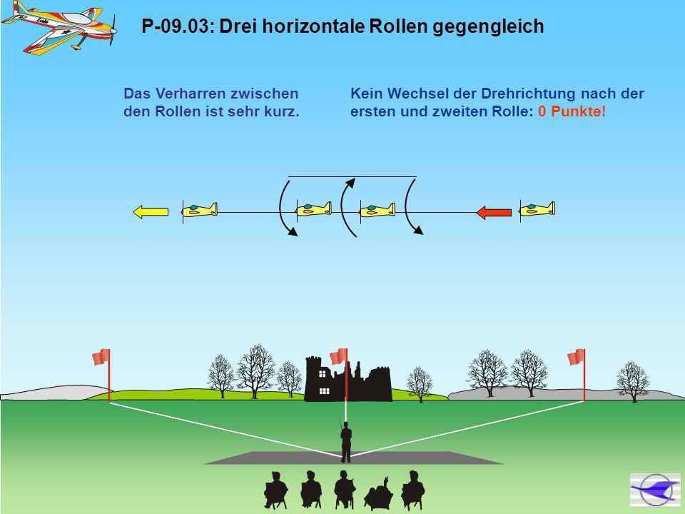 P-09.04: Stall Turn, 2/4-Punkt-Rolle aufwärts, 1/2 Rolle abwärts 2/4-Punkt-Rolle in der Mitte der Strecke 2/4-Punkt- Rolle