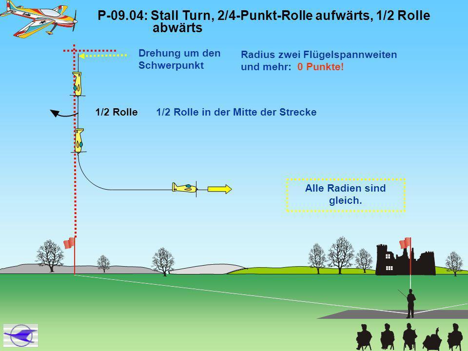 P-09.05: Hoher Hut, 4/8-Punkt-Rolle oben, Ausflug im Rückenflug Alle Radien sind gleich.