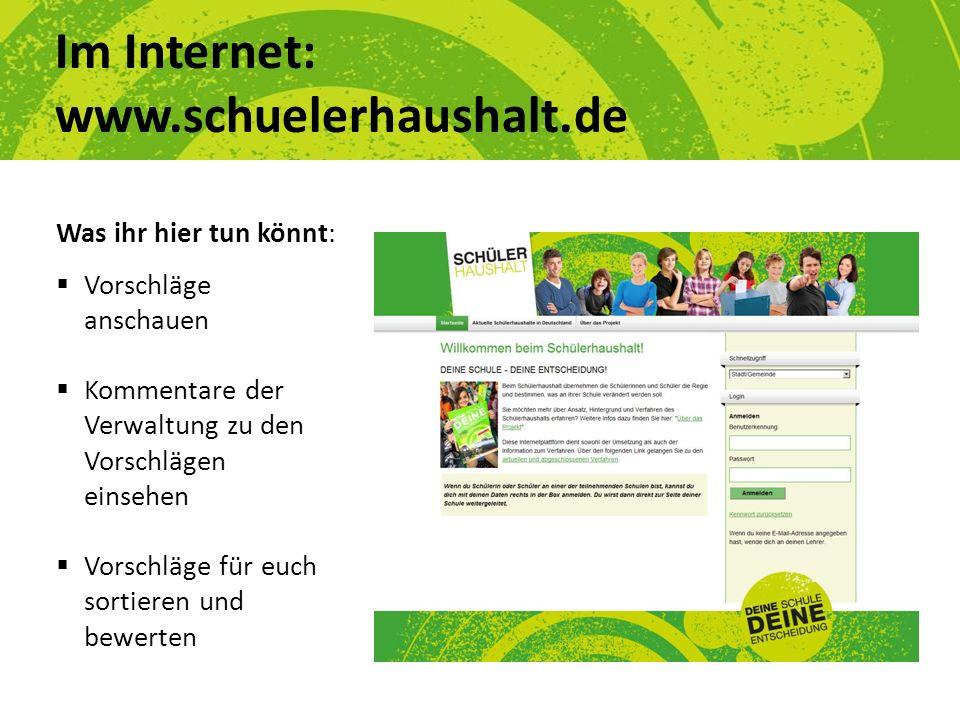 Im Internet: www.schuelerhaushalt.de Was ihr hier tun könnt: Vorschläge anschauen Kommentare der Verwaltung zu den Vorschlägen einsehen Vorschläge für