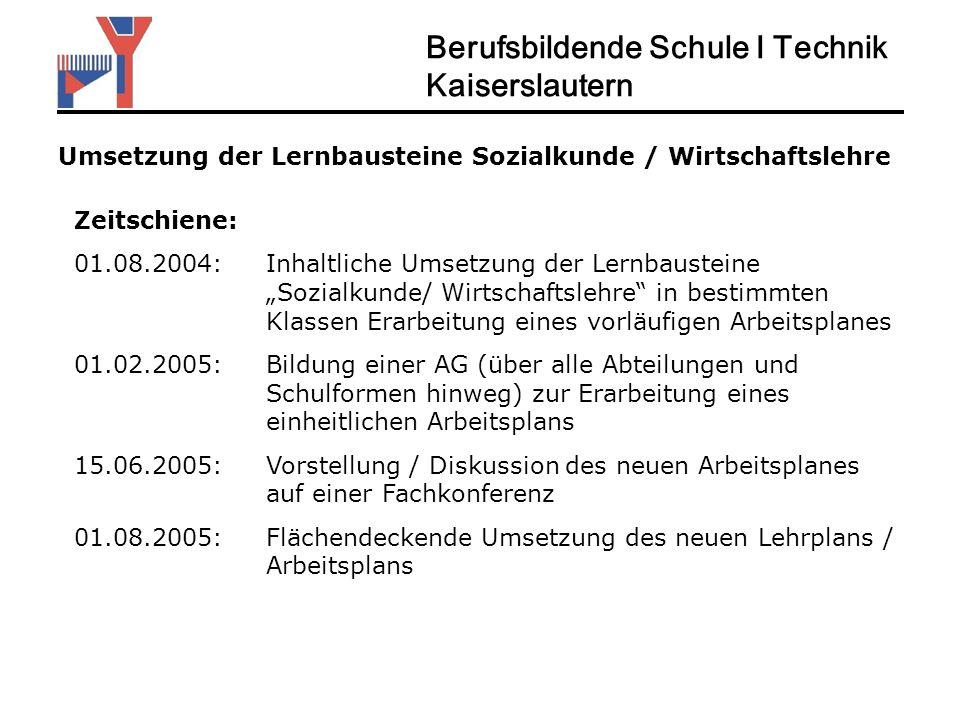 Umsetzung der Lernbausteine Sozialkunde / Wirtschaftslehre Zeitschiene: 01.08.2004: Inhaltliche Umsetzung der Lernbausteine Sozialkunde/ Wirtschaftsle