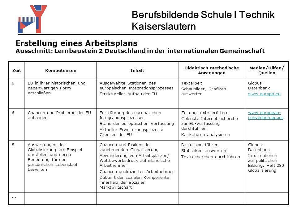 Berufsbildende Schule I Technik Kaiserslautern Erstellung eines Arbeitsplans Ausschnitt: Lernbaustein 2 Deutschland in der internationalen Gemeinschaf