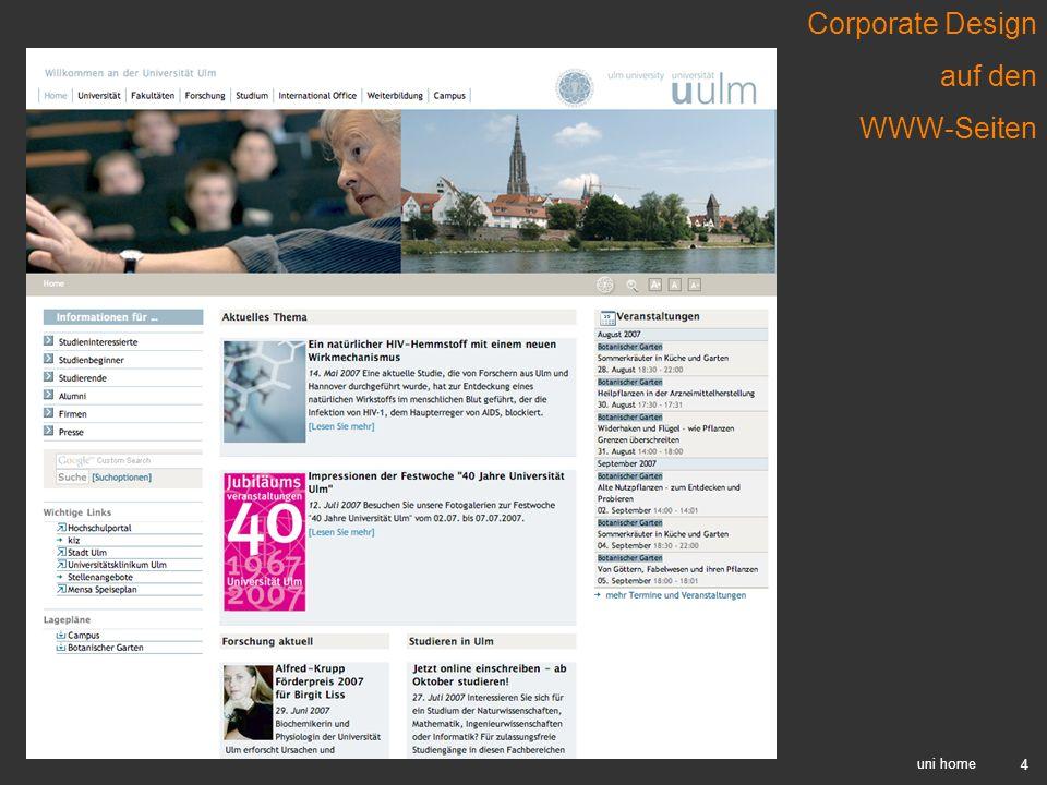 4 uni home Corporate Design auf den WWW-Seiten