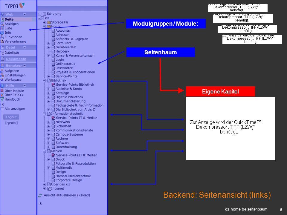 8 kiz home be seitenbaum Seitenbaum Eigene Kapitel Modulgruppen / Module: Backend: Seitenansicht (links)