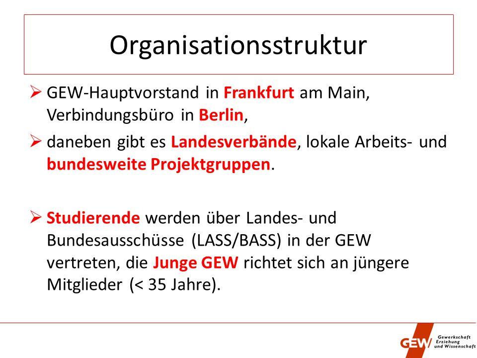 Organisationsstruktur GEW-Hauptvorstand in Frankfurt am Main, Verbindungsbüro in Berlin, daneben gibt es Landesverbände, lokale Arbeits- und bundesweite Projektgruppen.