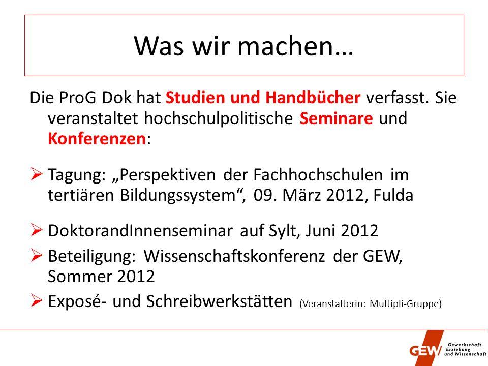 Was wir machen… Die ProG Dok hat Studien und Handbücher verfasst.